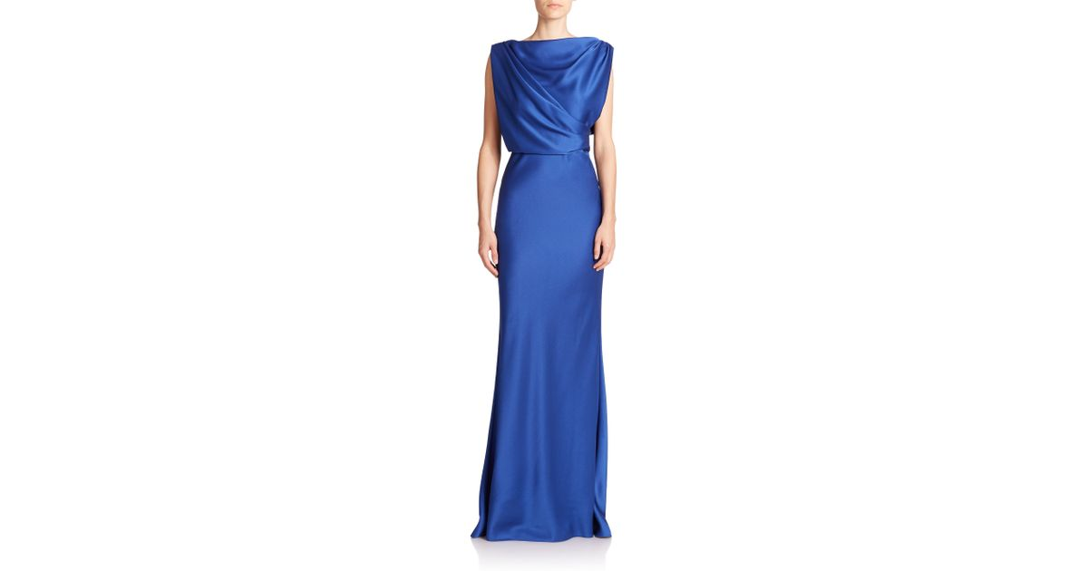 5bcf5e4ab7 Jason Wu Draped Satin Gown in Blue - Lyst