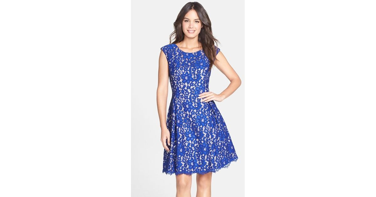 420ee2bb2b37 Lyst - Eliza J Lace Fit   Flare Dress in Blue