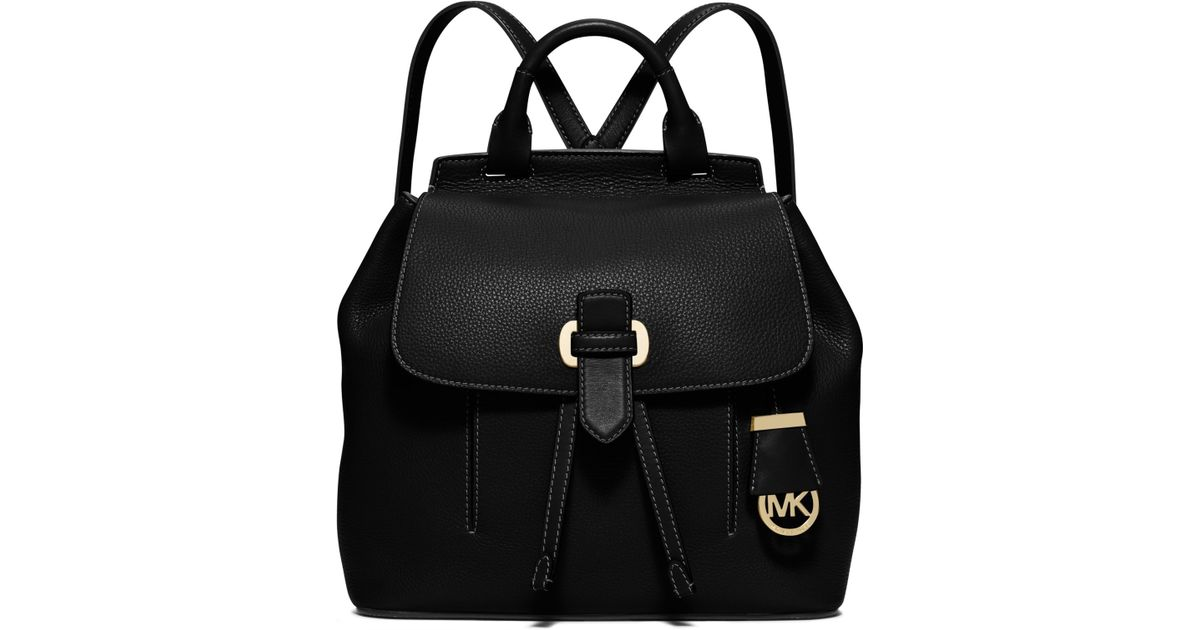 67d537eaa86a Michael Kors Romy Medium Leather Backpack in Black - Lyst