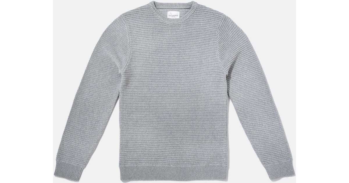 Saturdays nyc Everyday Horizontal Rib Sweater in Gray for Men | Lyst