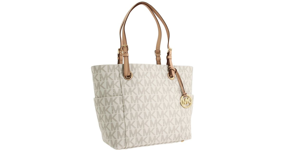 6ffd6fd09628 ... france lyst michael michael kors mk logo east west signature tote in  white 79cb5 98dfb ...