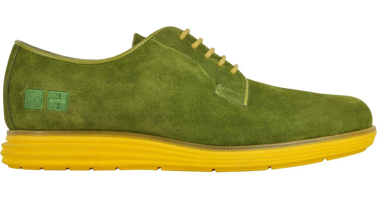 Du2019acquasparta Green Suede Oxford W/ Yellow Sole In Green For Men   Lyst