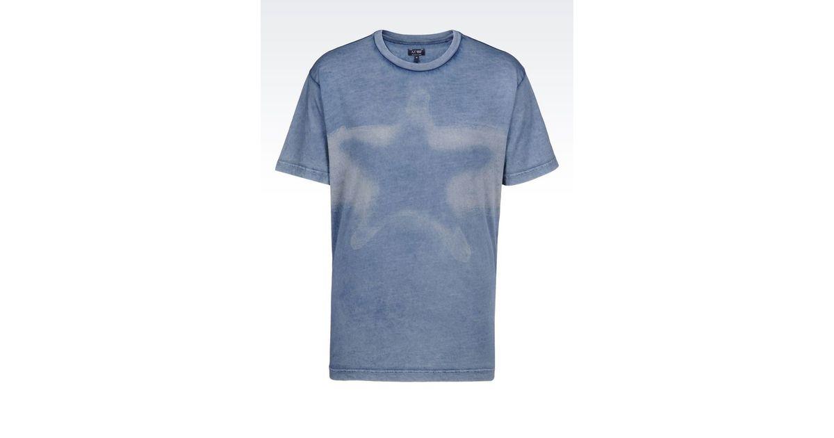 armani jeans print t shirt in blue for men save 52 lyst. Black Bedroom Furniture Sets. Home Design Ideas