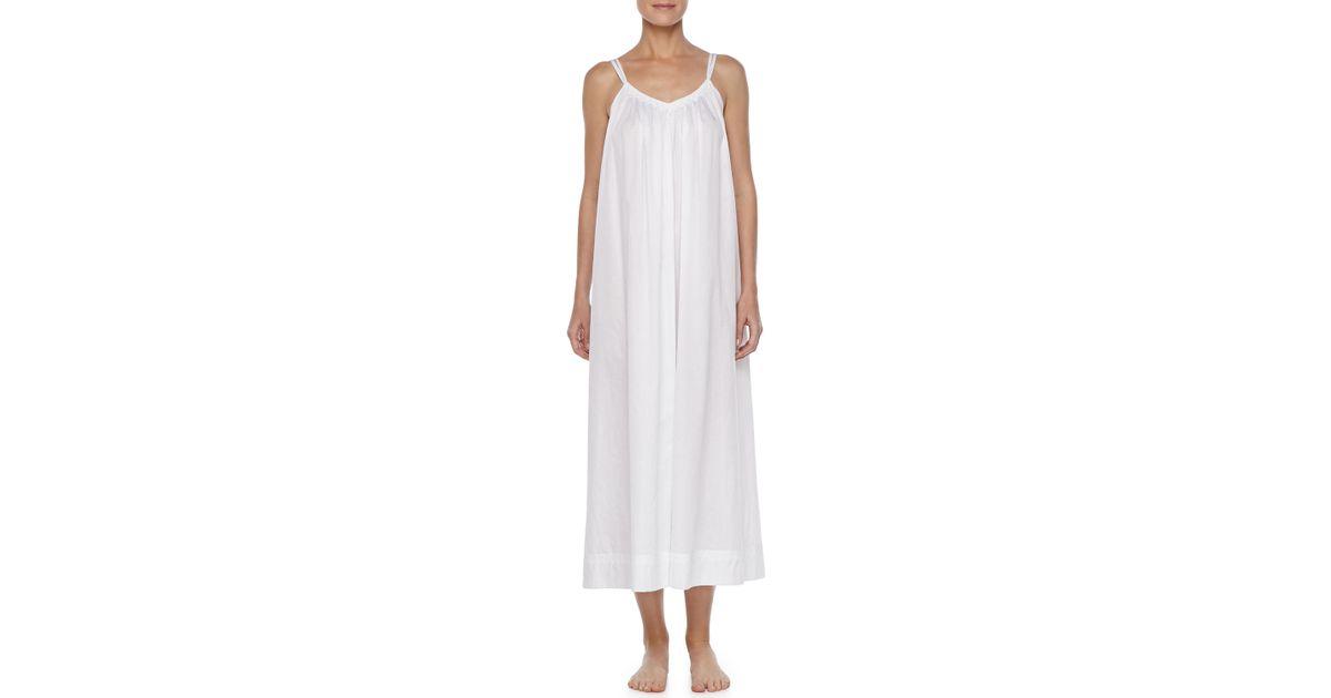 Lyst - Oscar De La Renta Grecian Long Batiste Gown in White