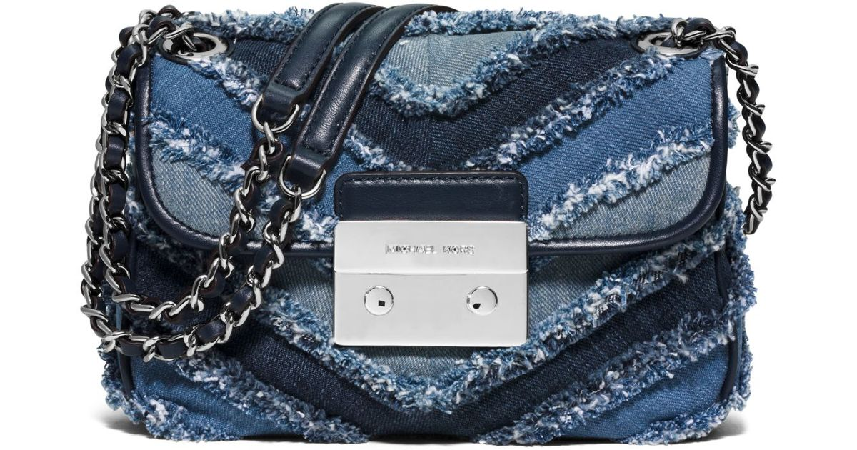 c738dc20d7873 Lyst - Michael Kors Sloan Small Denim Chevron Shoulder Bag in Blue