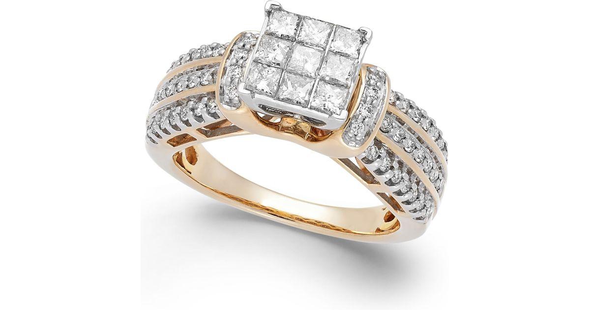Macy s Diamond Square Halo Ring In 14k Gold 1 Ct T w in Metallic Yel
