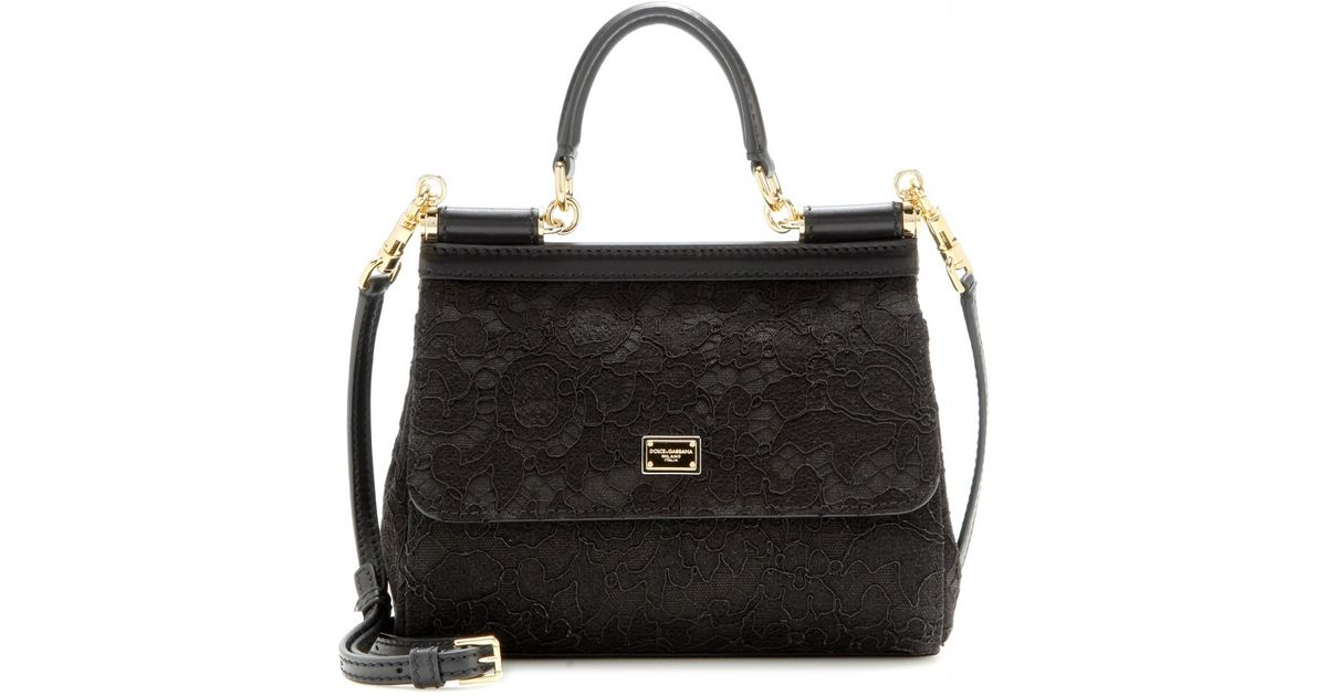 e0fa837861 Lyst - Dolce   Gabbana Mini Miss Sicily Lace Shoulder Bag in Black