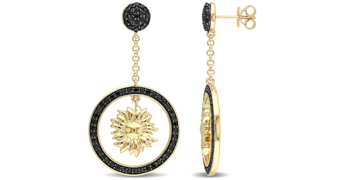 Lyst Versace Black Shire Sunflower Drop Earrings In 18k Yellow Gold Plated Sterling Silver
