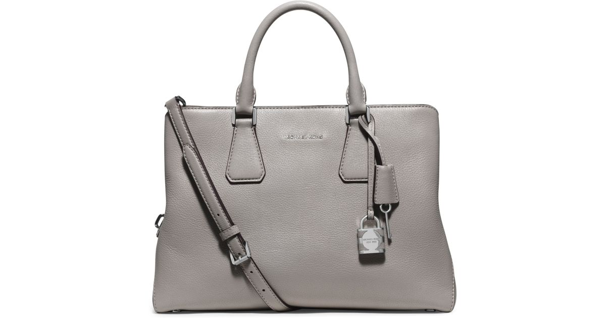 52a6caef2b9dd2 Michael Kors Camille Large Leather Satchel in Gray - Lyst
