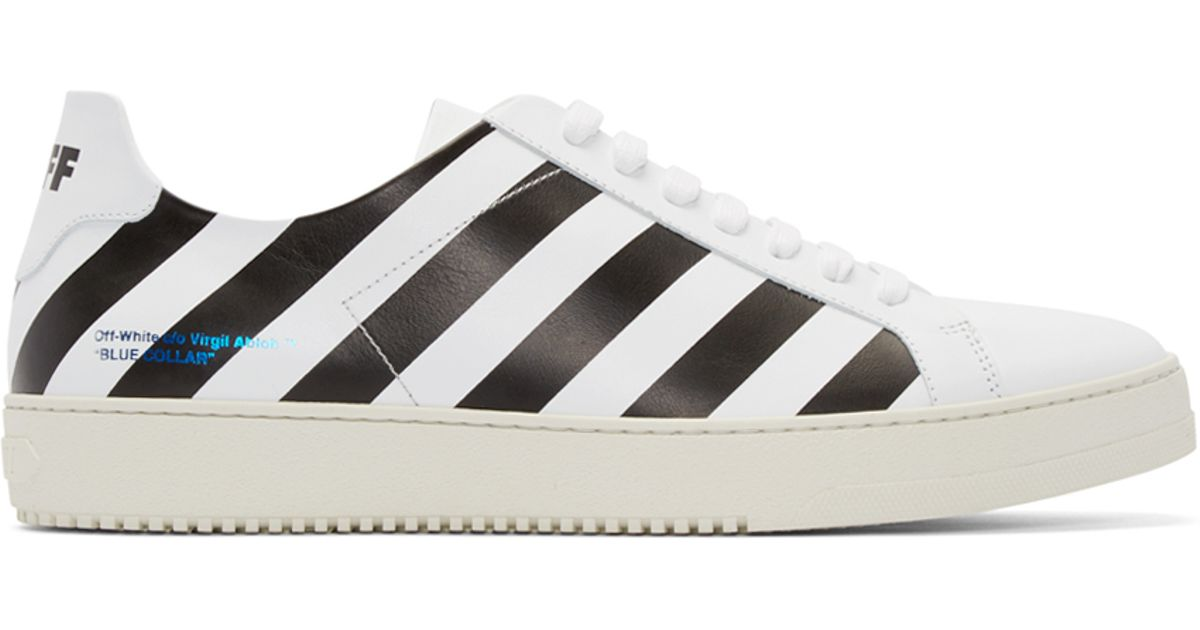 Lyst - Off-White c o Virgil Abloh White Leather Striped Sneakers in White  for Men 64676bf6c5bf