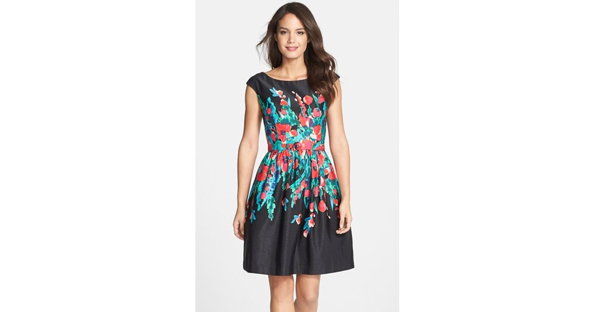 110f4569cd2a Lyst - Eliza J Floral Print Faille Fit   Flare Dress in Black