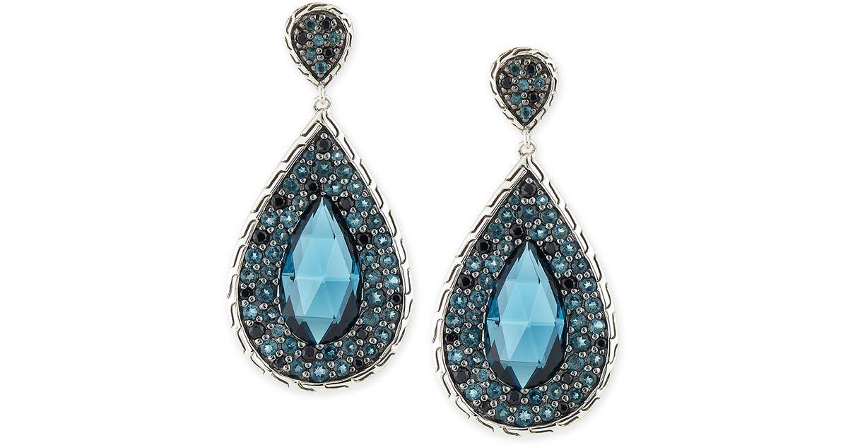 John hardy batu classic chain blue topaz drop earrings in for John hardy jewelry earrings