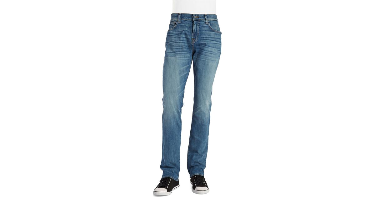 7 for all mankind tapered straight leg jean in blue for men lyst. Black Bedroom Furniture Sets. Home Design Ideas