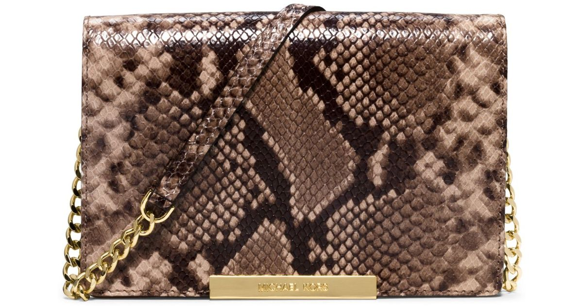 903fabfd247b3 Lyst - Michael Kors Lana Embossed-leather Clutch in Natural