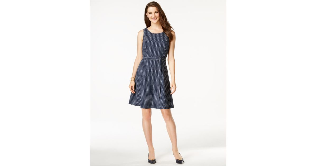 7cf803ad4d Tommy Hilfiger Belted Fit & Flare Dress in Blue - Lyst