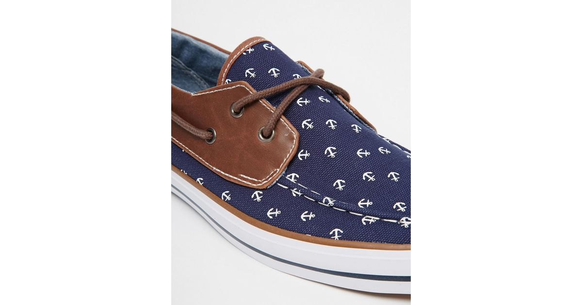 Asos Boat Shoes With Anchor Print in Blue for Men | Lyst