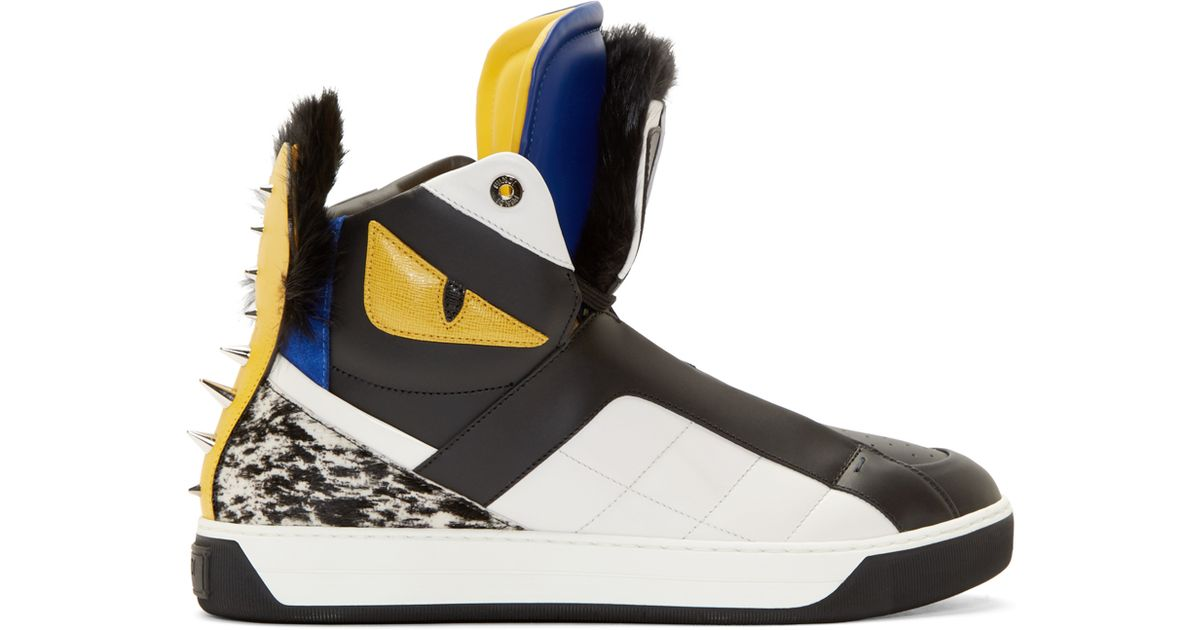 41144c0ce083 Lyst - Fendi Black Fur Bugs High-top Sneakers in Black for Men