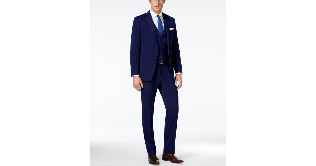 Calvin Klein Navy Solid Big And Tall Slim Fit Vested Suit