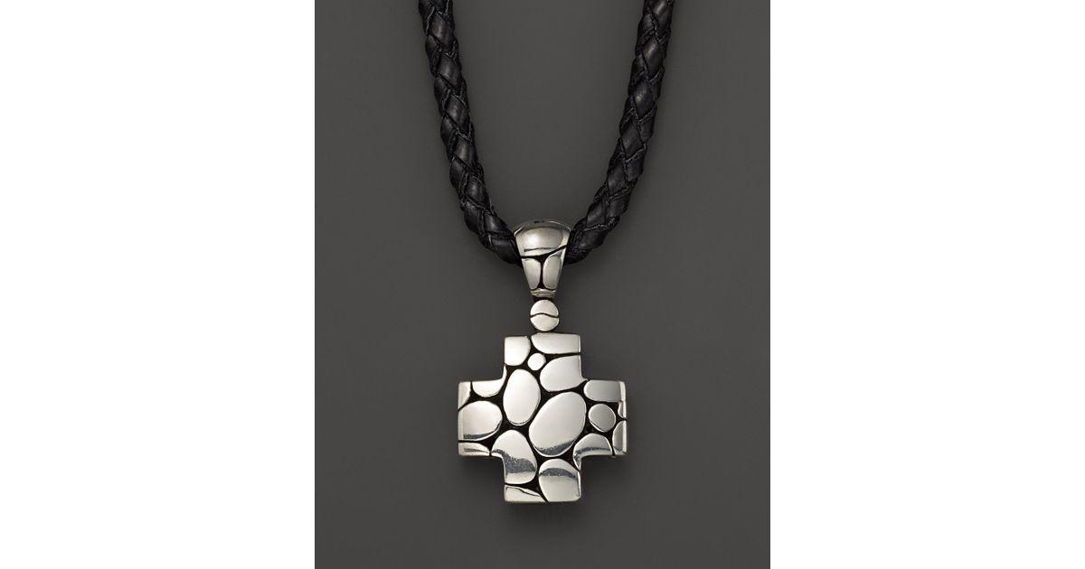 Lyst john hardy mens kali silver cross pendant on black leather lyst john hardy mens kali silver cross pendant on black leather cord in metallic for men aloadofball Gallery