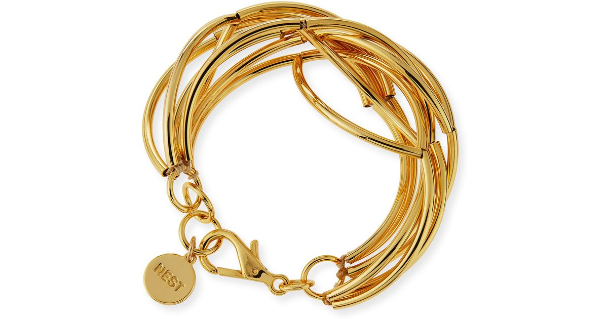 twisted sterling jewelry plated lyst gold bangle ball argento in metallic vivo silver bracelet