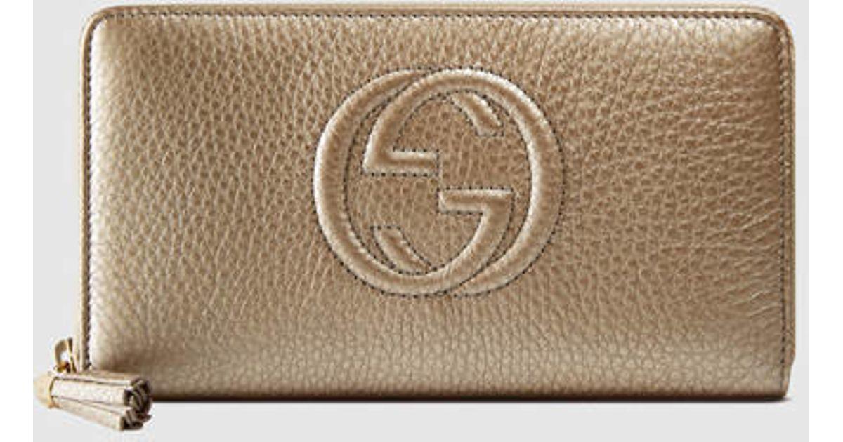 21364f976c33 Gucci Soho Leather Zip Around Wallet in Metallic - Lyst