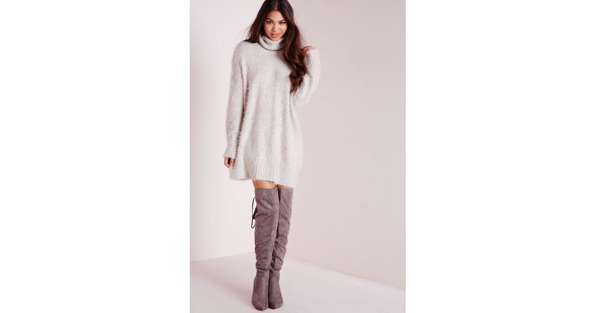 Missguided Tall Fluffy Roll Neck Jumper Dress Grey in Gray - Lyst fbbdb47e7
