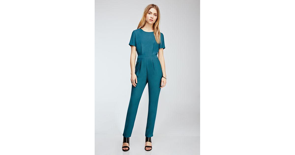 828791af05b Forever 21 Short-sleeved Crepe Jumpsuit in Blue - Lyst