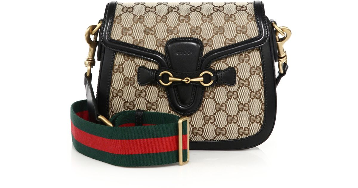 Gucci Lady Web Medium GG Canvas Shoulder Bag in Natural | Lyst