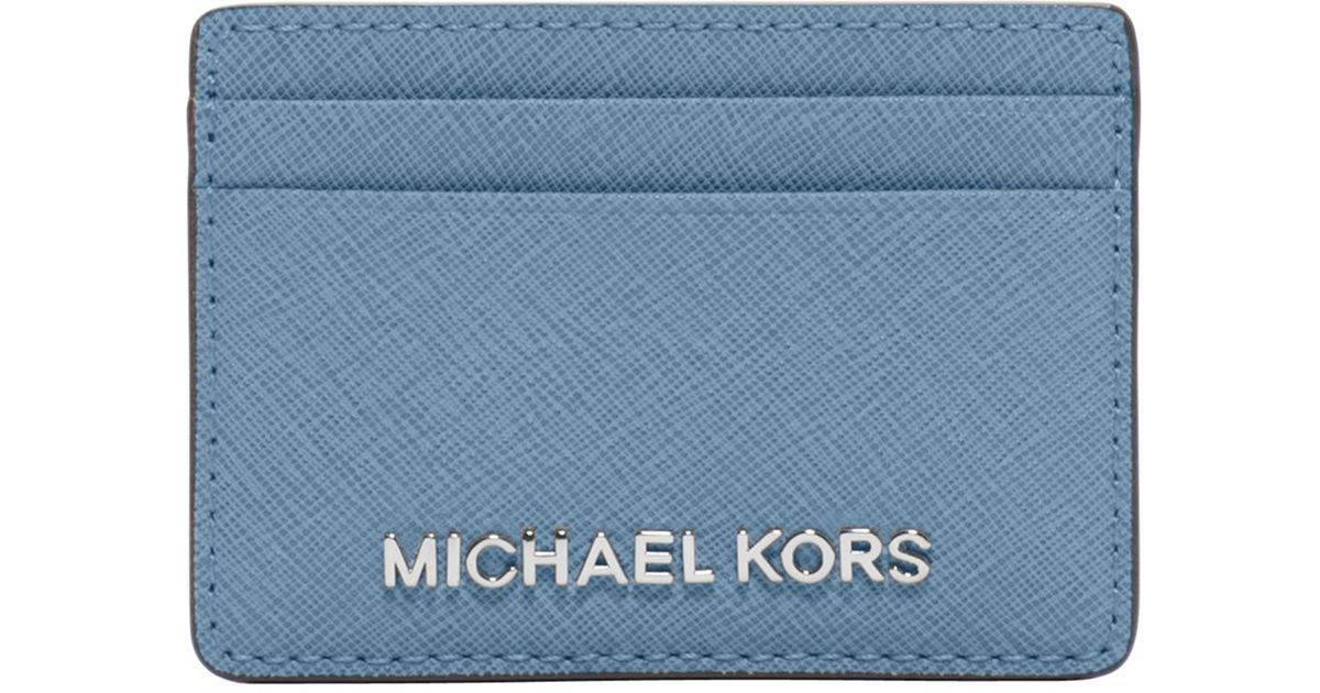 a97c2c754851 MICHAEL Michael Kors Jet Set Travel Leather Card Holder in Blue - Lyst
