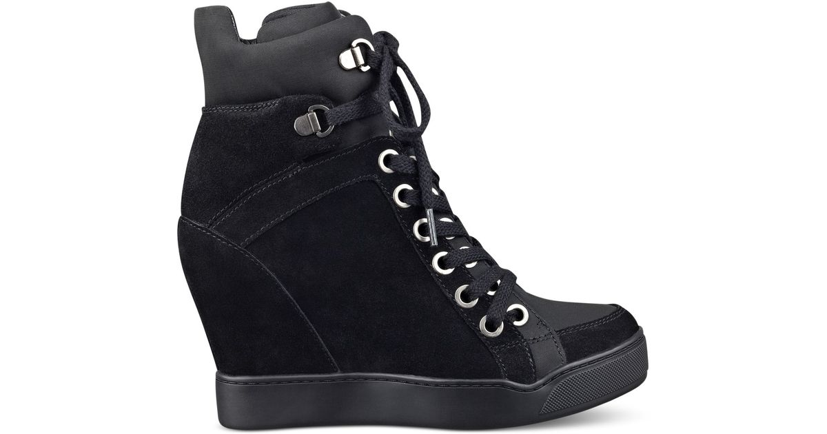 guess womens matty wedge sneakers in black lyst