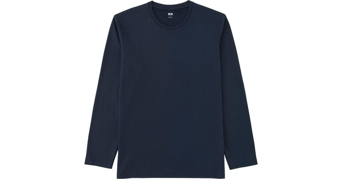 7664a37753aa5 Lyst - Uniqlo Men Soft Touch Crewneck Long Sleeve T-shirt in Blue for Men