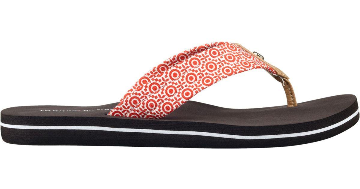 1648aa14 Lyst - Tommy Hilfiger Womens Corrale Flip Flops in Orange