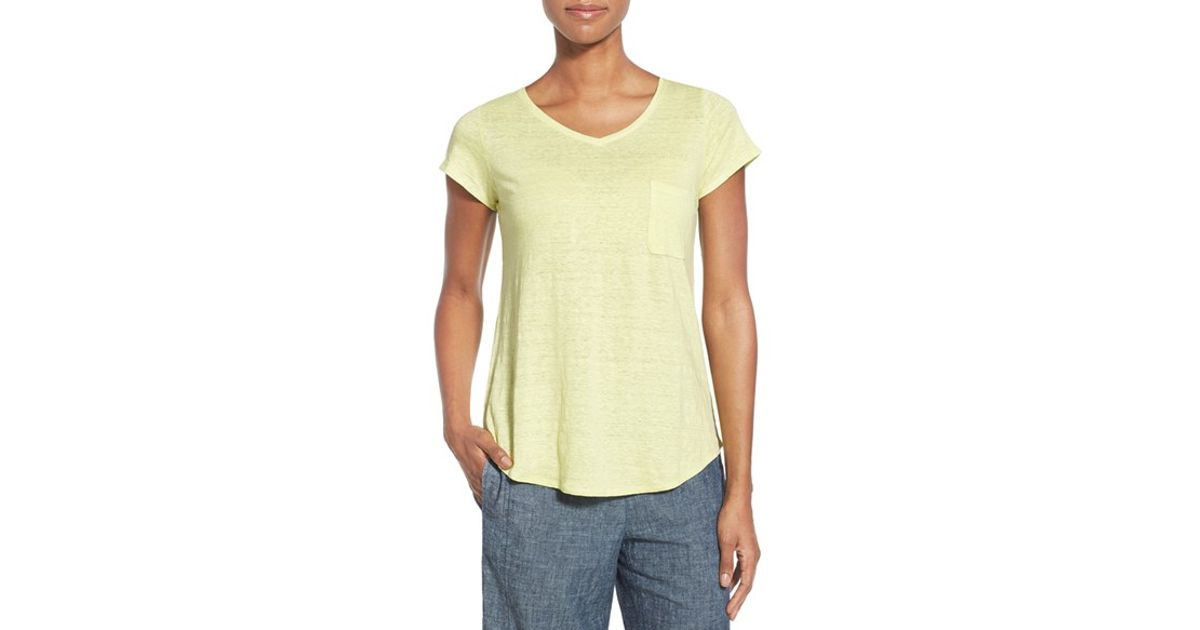 ab8385c7cf Lyst - Eileen Fisher Organic Linen V-neck Tee in Yellow