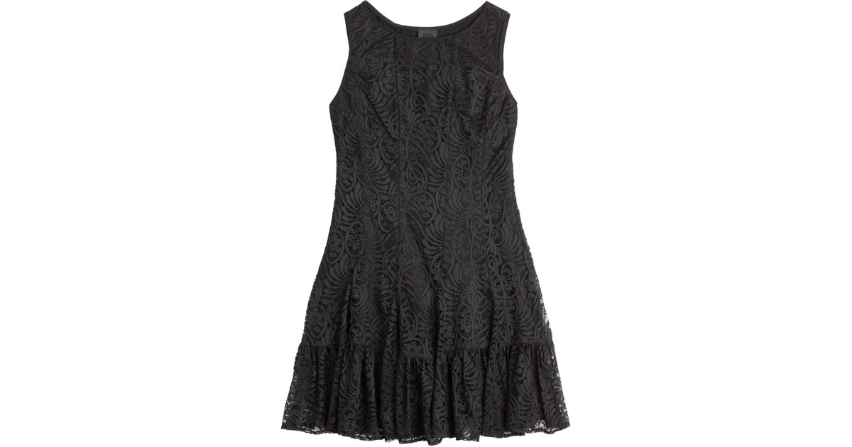 Lyst Anna Sui Stretch Dress With Lace Overlay In Black
