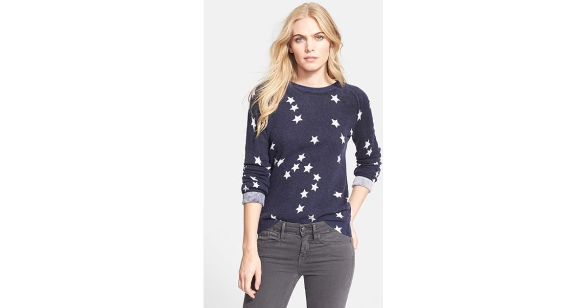 Equipment 'sloan' Star Pattern Cashmere Sweater in Blue | Lyst