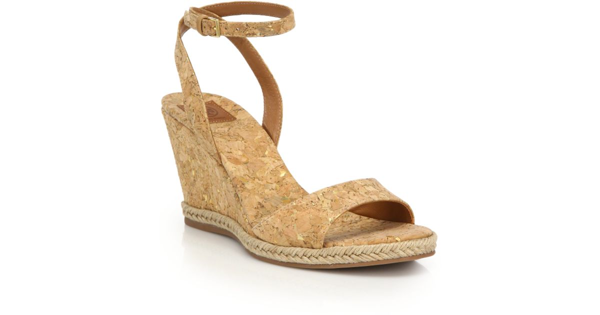 edbb19c2119 Lyst - Tory Burch Marion Cork Wedge Sandals in Natural