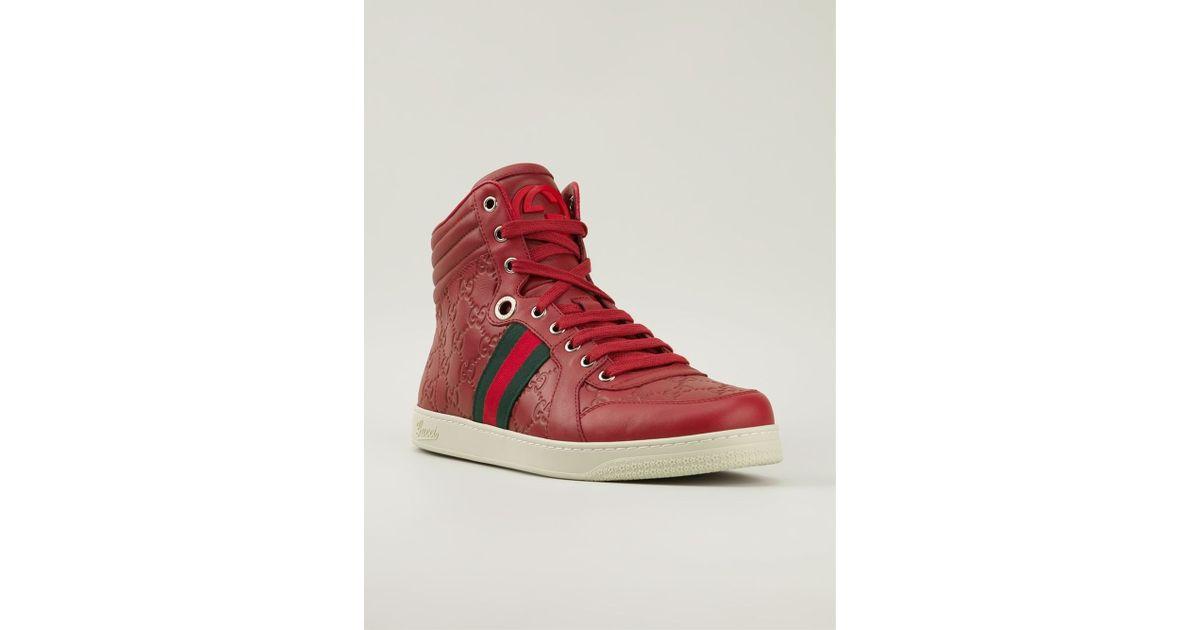 962e97ea66d Lyst - Gucci Monogram Hi-Top Sneakers in Red for Men