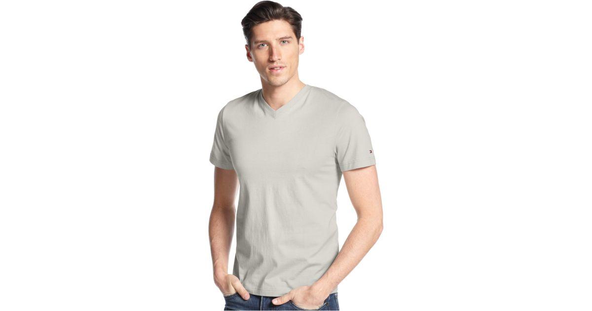 tommy hilfiger men 39 s elmira v neck t shirt in gray for men. Black Bedroom Furniture Sets. Home Design Ideas