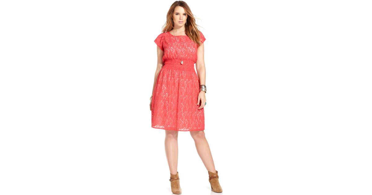 Lyst American Rag Plus Size Shortsleeve Lace Dress In Orange