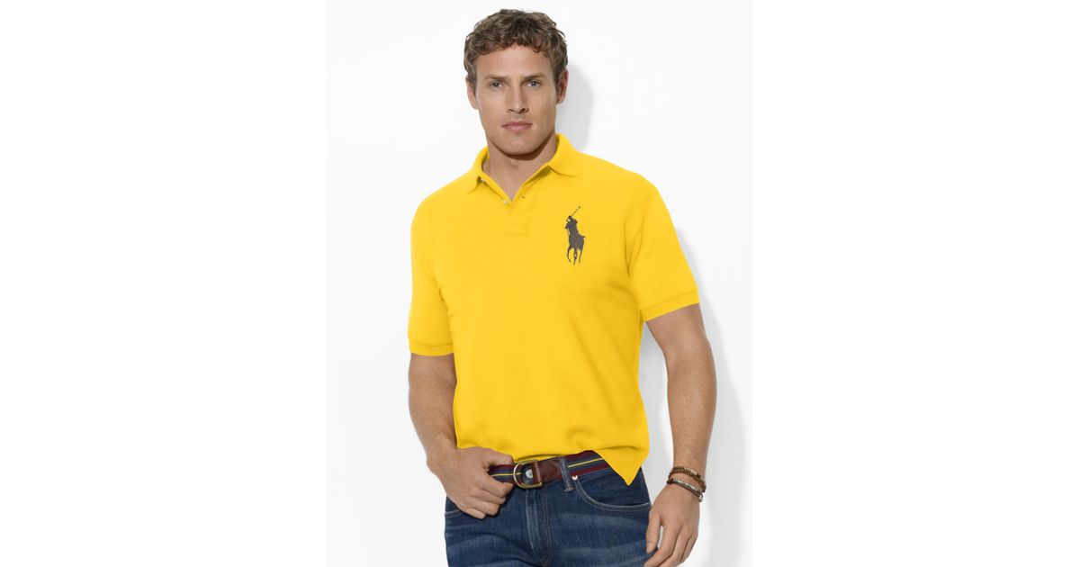 Ralph lauren classic fit big pony polo in yellow for men for Big and tall athletic shirts