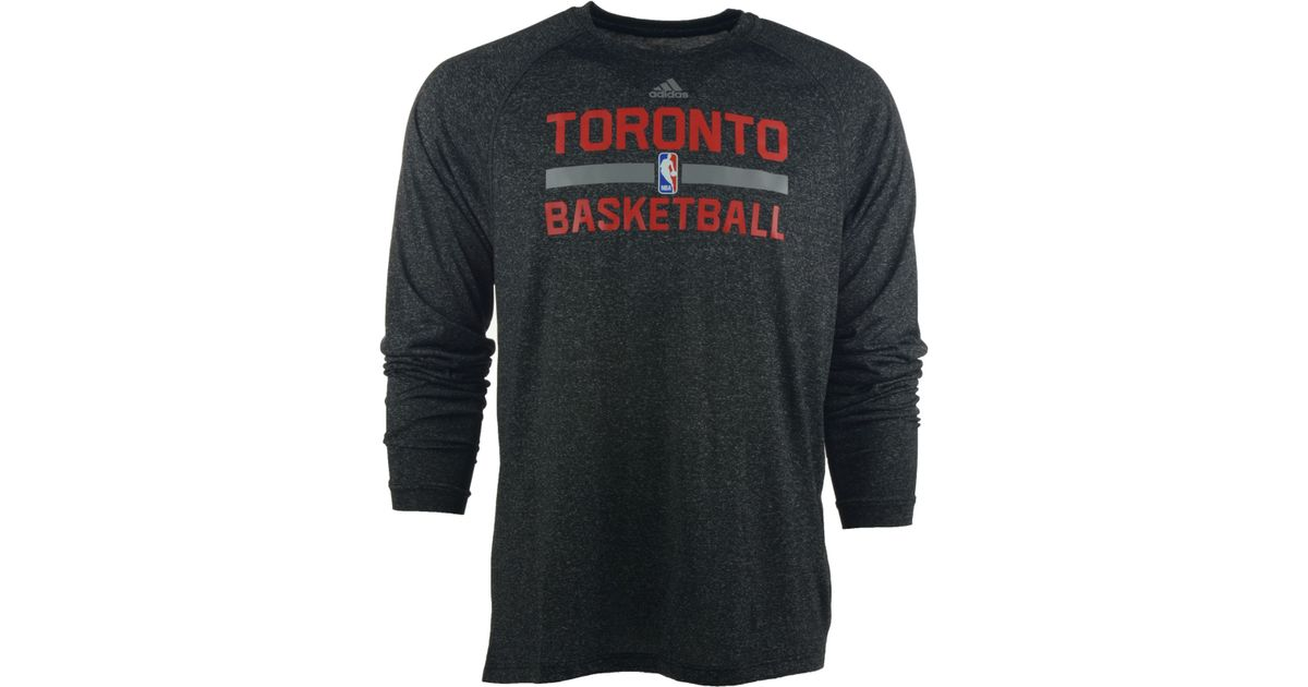09f50864877 ... spain lyst adidas originals mens long sleeve toronto raptors climalite  practice t shirt in black for
