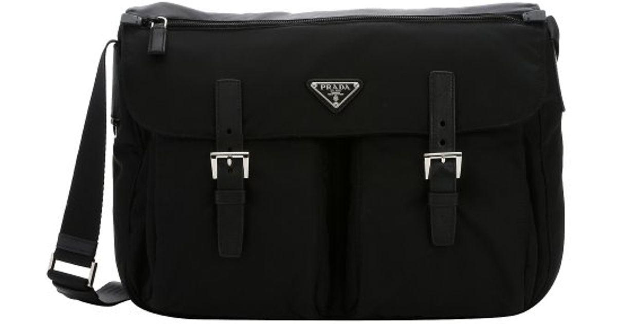 Prada Black Nylon Flap Front Large Messenger Bag in Black for Men ...