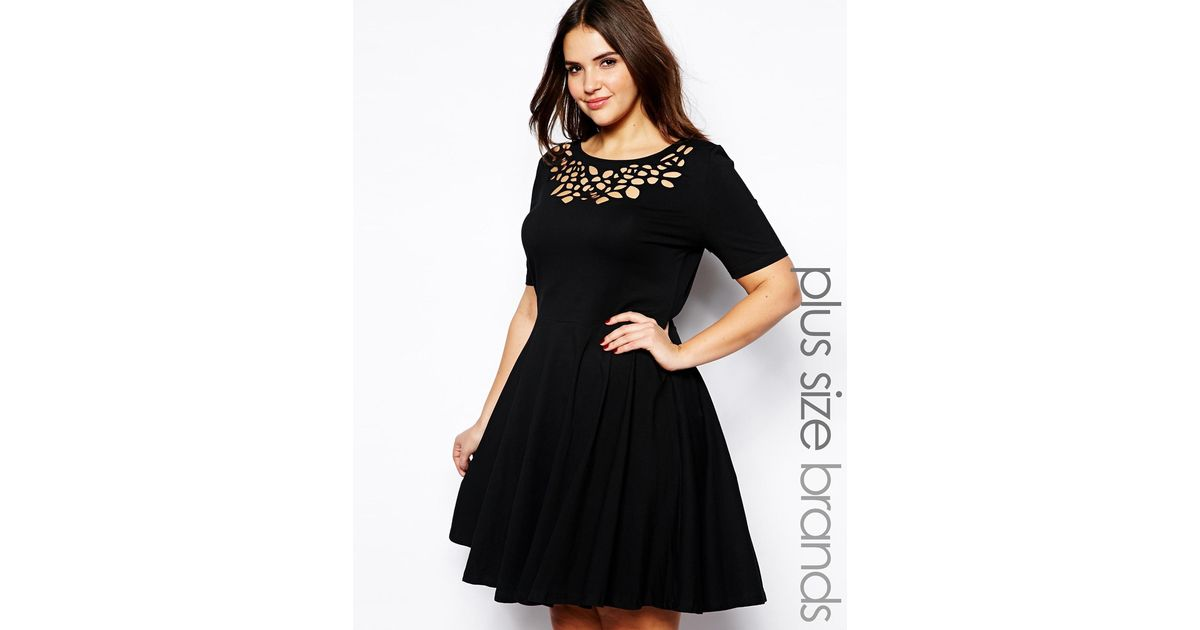 Lyst Ax Paris Plus Size Laser Cut Skater Dress In Black