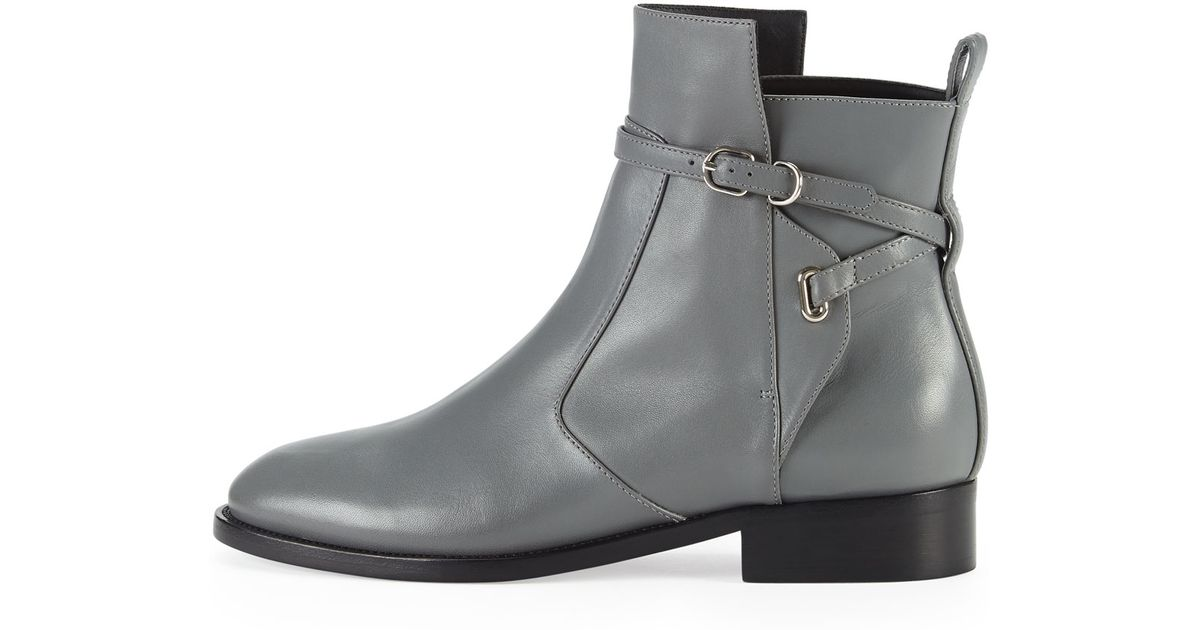 Balenciaga Ankle-Strap Flat Boot in Gray | Lyst