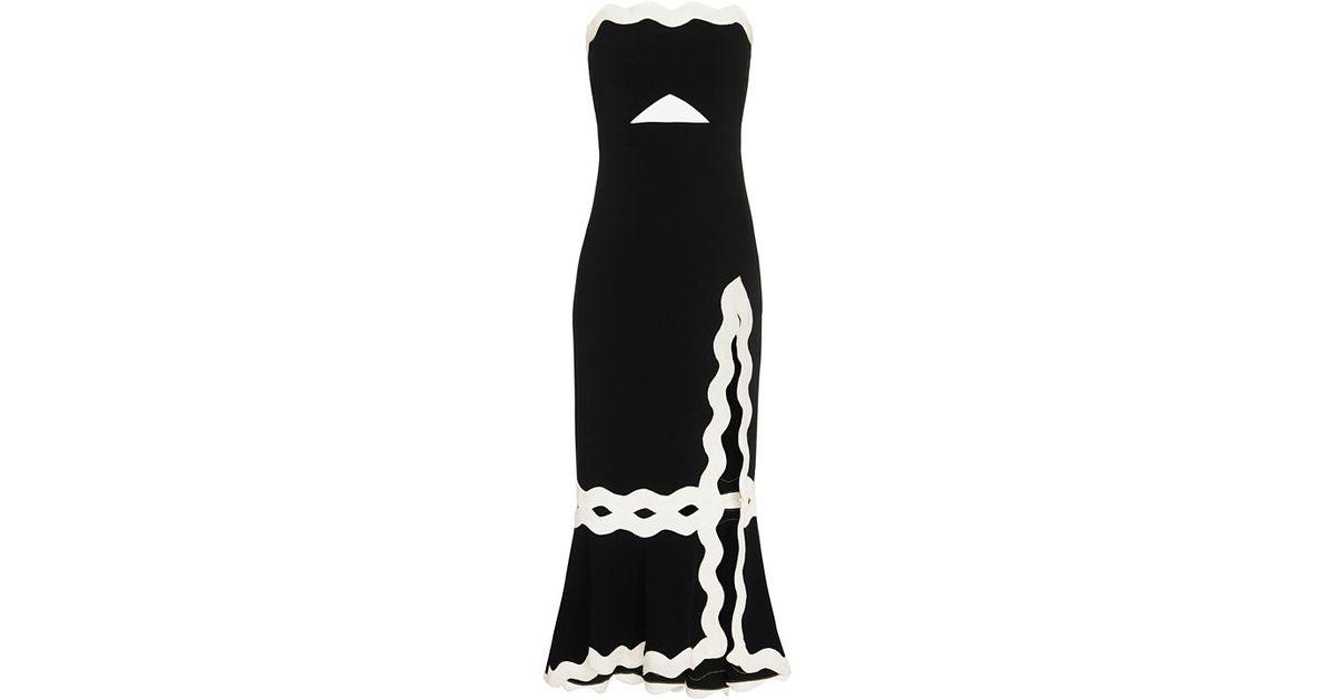 8f9d54bdc2c5 Jonathan Simkhai Scalloped Trim Strapless Dress in Black - Lyst