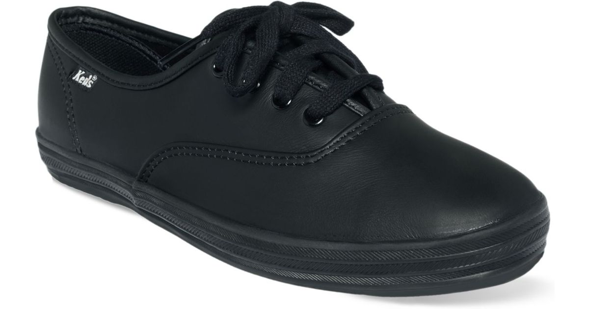 17e0336d1293 Lyst - Keds Women s Champion Leather Oxford Sneakers in Black