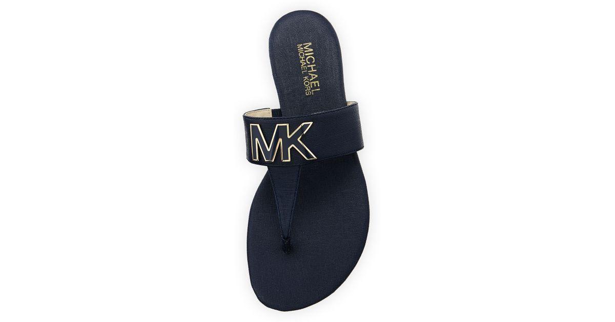 e4b211c6f44d Lyst - MICHAEL Michael Kors Hayley Mk Leather Thong Sandal in Blue