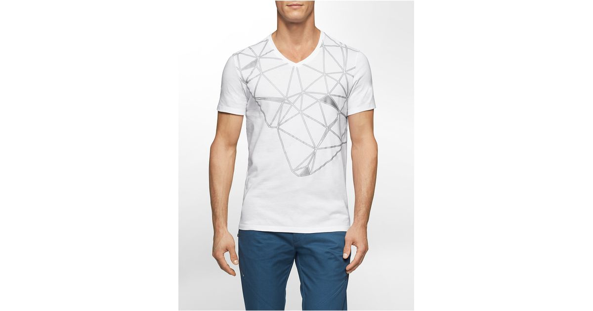 Calvin Klein White Label Ck One Abstract Grid V Neck T