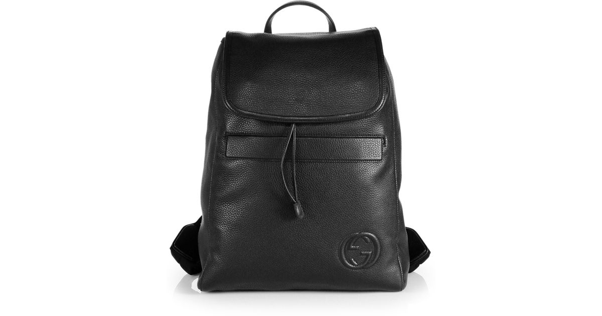 72e1a24f4a7 mens gucci black leather backpack gucci leather backpack in black for lyst