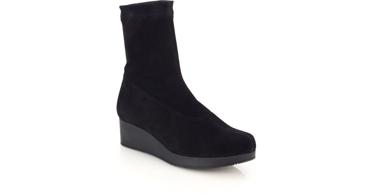 robert clergerie nerdal stretch suede ankle boots in black